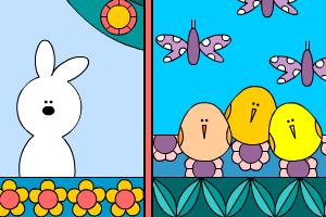 coniglio e pulcini buona pasqua