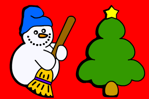 pupazzo di neve e abete natalizio